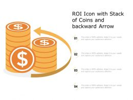 ROI Icon With Stack Of Coins And Backward Arrow