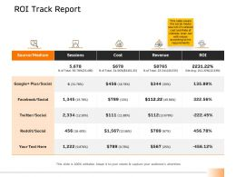 ROI Track Report Revenue Ppt Powerpoint Presentation Gallery Slide Download