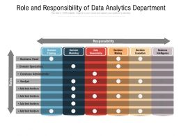 Role And Responsibility Of Data Analytics Department