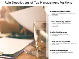 Role Descriptions Of Top Management Positions