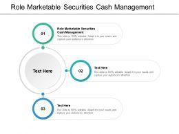 Role Marketable Securities Cash Management Ppt Powerpoint Presentation Diagrams Cpb