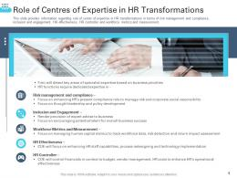Role Of Centers Of Expertise In HR Transformations Transforming Human Resource Ppt Guidelines