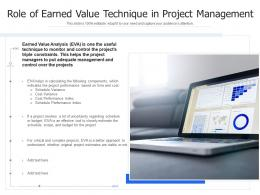 Role Of Earned Value Technique In Project Management