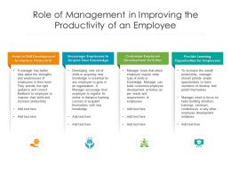 Role Of Management In Improving The Productivity Of An Employee