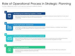 Role Of Operational Process In Strategic Planning