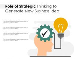 Role Of Strategic Thinking To Generate New Business Idea
