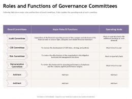 Roles And Functions Of Governance Committees M1893 Ppt Powerpoint Presentation Ideas Pictures