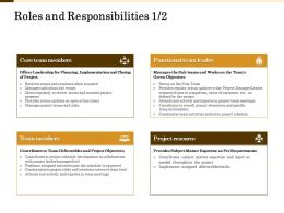 Roles And Responsibilities Coordinates Team Ppt Powerpoint Presentation Pictures Structure