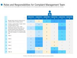 Roles And Responsibilities For Complaint Management Team Customer Complaint Mechanism Ppt Pictures