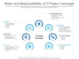Roles And Responsibilities Of IT Project Manager