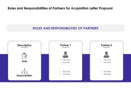 Roles And Responsibilities Of Partners For Acquisition Letter Proposal Ppt Slides