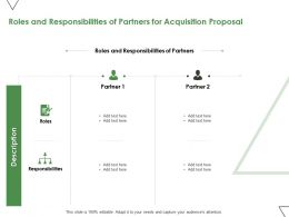 Roles And Responsibilities Of Partners For Acquisition Proposal Ppt Powerpoint Presentation Slides