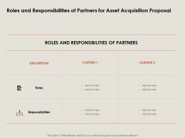 Roles And Responsibilities Of Partners For Asset Acquisition Proposal Ppt Powerpoint Presentation Diagram