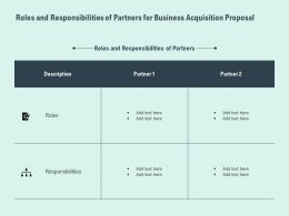 Roles And Responsibilities Of Partners For Business Acquisition Proposal