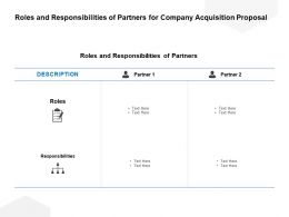 Roles And Responsibilities Of Partners For Company Acquisition Proposal Ppt Icons