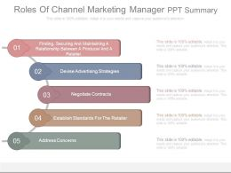 Roles Of Channel Marketing Manager Ppt Summary