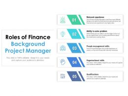 Roles Of Finance Background Project Manager