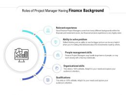 Roles Of Project Manager Having Finance Background