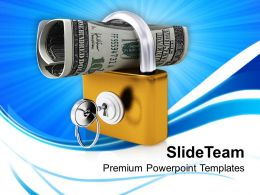 roll of american dollars in padlock powerpoint templates ppt themes and graphics 0213
