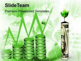roll of money with a plant powerpoint templates ppt themes and graphics 0213