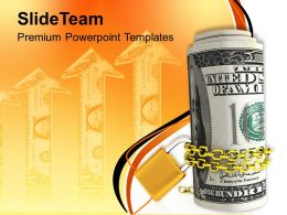 Roll Of US Dollars Chained And Locked Powerpoint Templates PPT Themes And Graphics 0113
