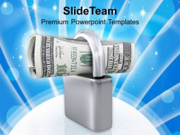 Roll Of US Dollars In Padlock PowerPoint Templates PPT Themes And Graphics 0213