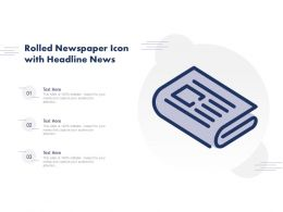Rolled Newspaper Icon With Headline News