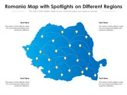 Romania Map With Spotlights On Different Regions