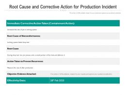 Root Cause And Corrective Action For Production Incident