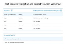 Root Cause Investigation And Corrective Action Worksheet