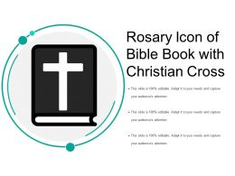 Rosary Icon Of Bible Book With Christian Cross