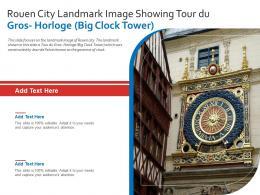 Rouen City Landmark Image Showing Tour Du Gros Horloge Big Clock Tower Powerpoint Presentation PPT Template