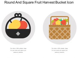 Round And Square Fruit Harvest Bucket Icon