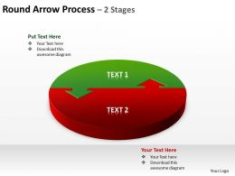 round arrow process 2 stages powerpoint diagrams presentation slides graphics 0912