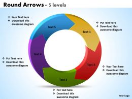 Round Arrows 5 levels powerpoint Slides templates