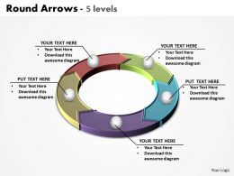 round arrows split up in colorful 5 levels powerpoint diagram templates graphics 712