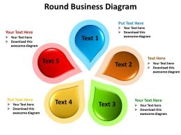 round business diagram 5 stages shown by pertals of a flower powerpoint templates 0712