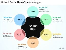 round cycle flow chart 6 stages shown by big black circle and surrounding powerpoint templates 0712