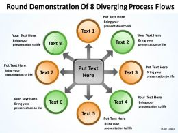 round demonstration of 8 diverging process flows Circular Motion PowerPoint Slides