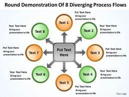 round_demonstration_of_8_diverging_process_flows_circular_motion_powerpoint_slides_Slide01