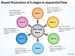 round illustration of 6 stages in sequential flow Processs and PowerPoint Slides