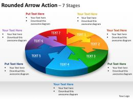 rounded arrow action 7 stages powerpoint diagrams presentation slides graphics 0912