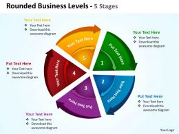 rounded busines levels 5 stages chart split up with concentric arrows powerpoint templates 0712