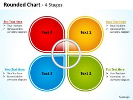 rounded chart 4 stages shown by petals of a slower powerpoint templates 0712