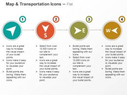 Route South East West Ppt Icons Graphics