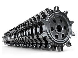 Row Of Black Gears Stock Photo