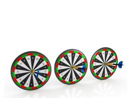 Row Of Dart Boards Isolated On White Background Stock Photo