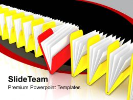 Row Of File Folders Yellow And Red Powerpoint Templates Ppt Themes And Graphics 0213