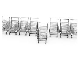 Row Of Shopping Carts With One Cart Standing Ahead Stock Photo