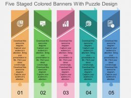 rp Five Staged Colored Banners With Puzzle Design Flat Powerpoint Design
